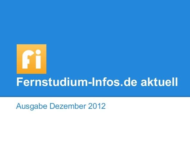Fernstudium-Infos.de aktuellAusgabe Dezember 2012