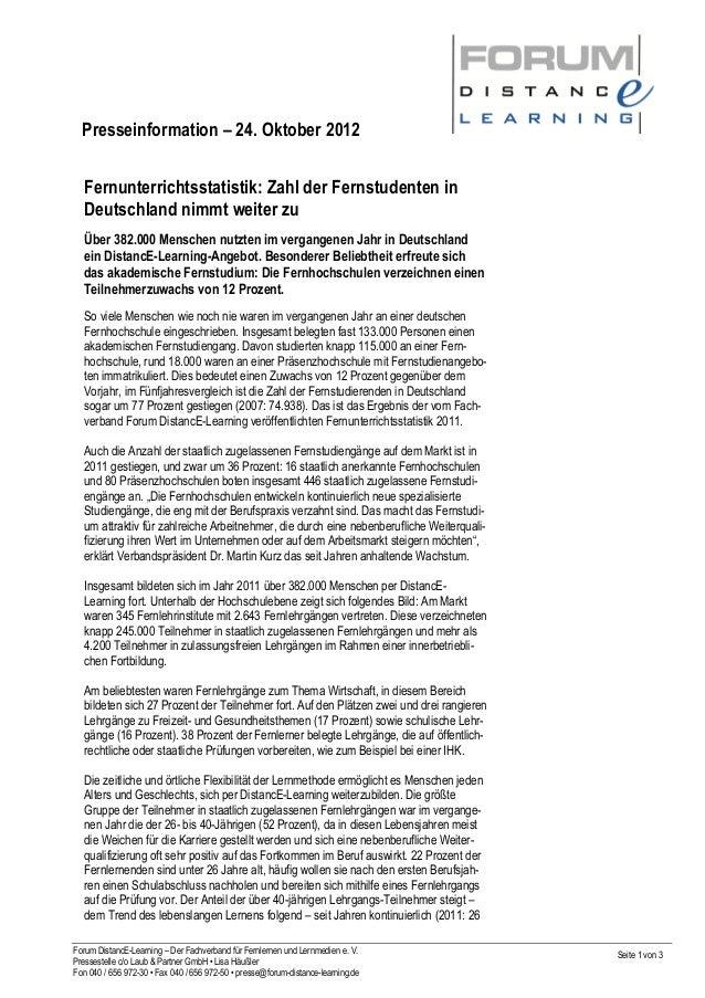 Presseinformation – 24. Oktober 2012 Forum DistancE-Learning – Der Fachverband für Fernlernen und Lernmedien e. V. Presses...