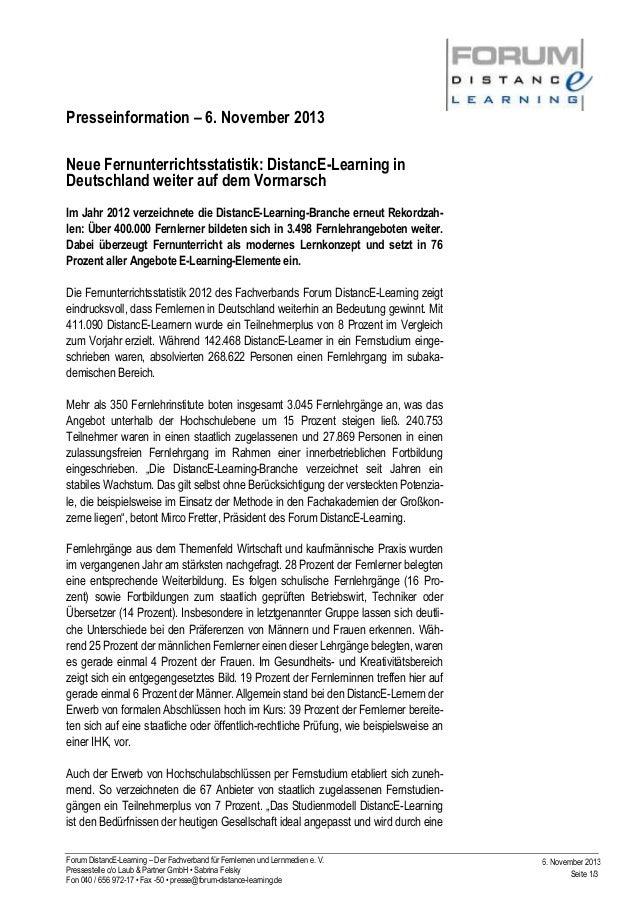 Presseinformation – 6. November 2013 Neue Fernunterrichtsstatistik: DistancE-Learning in Deutschland weiter auf dem Vormar...