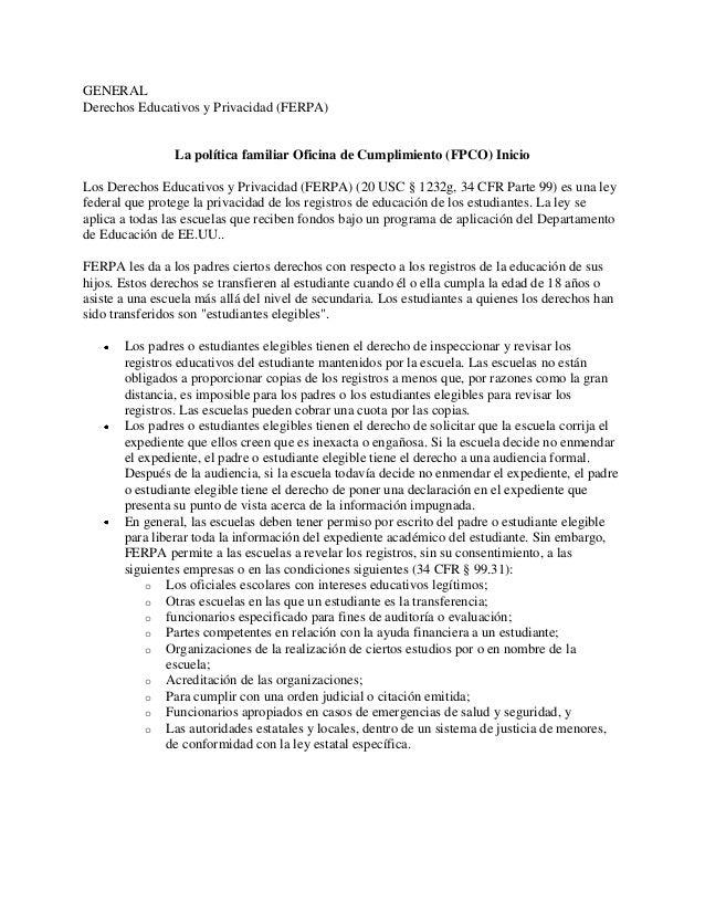 Ley ferpa orientaci n general para estudiantes for Oficina de asistencia en materia de registros