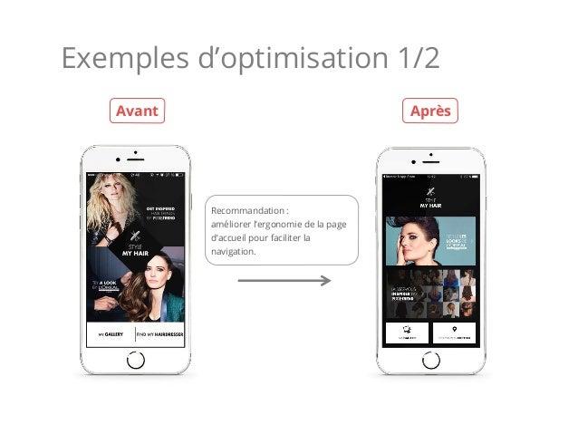 Exemples d'optimisation 1/2 Recommandation : améliorer l'ergonomie de la page d'accueil pour faciliter la navigation. Avan...