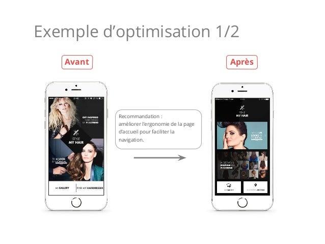 Exemple d'optimisation 1/2 Recommandation : améliorer l'ergonomie de la page d'accueil pour faciliter la navigation. Avant...