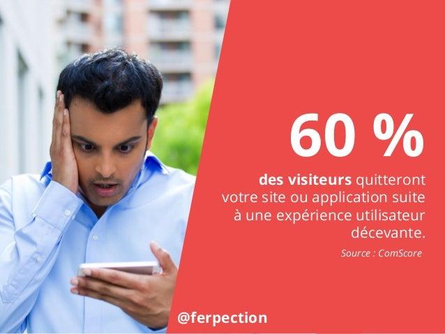 60 %des visiteurs quitteront votre site ou application suite à une expérience utilisateur décevante. @ferpection Source : ...