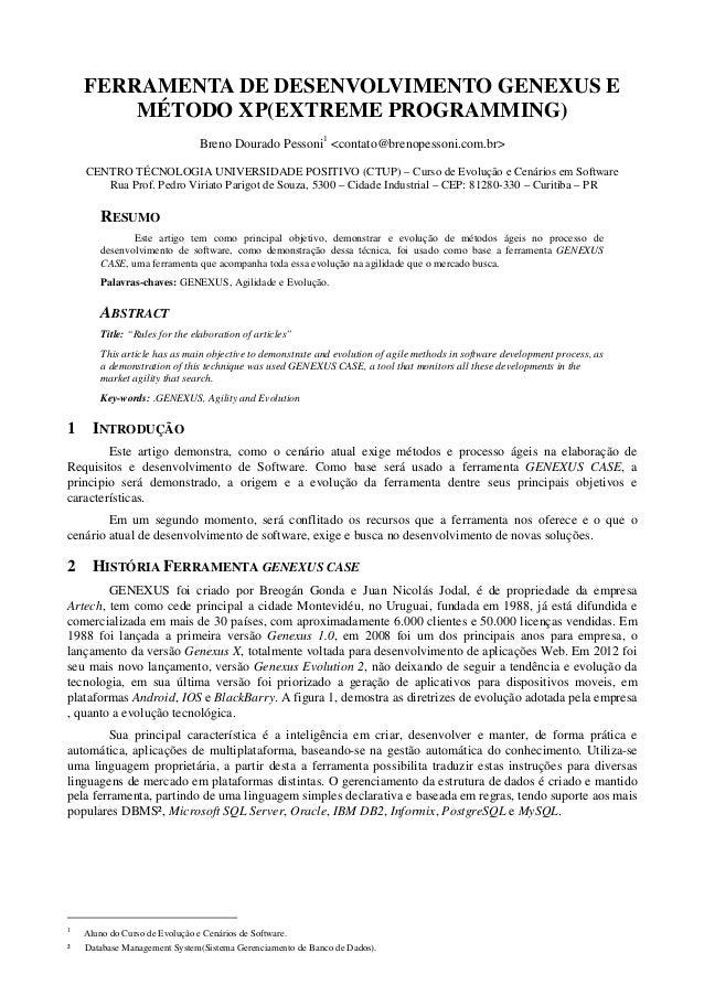 FERRAMENTA DE DESENVOLVIMENTO GENEXUS E        MÉTODO XP(EXTREME PROGRAMMING)                                Breno Dourado...