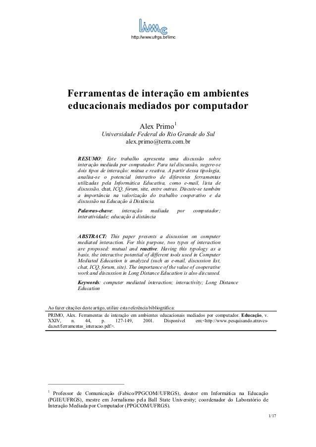 http://www.ufrgs.br/limc          Ferramentas de interação em ambientes          educacionais mediados por computador     ...