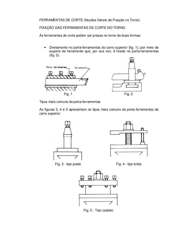 FERRAMENTAS DE CORTE (Noções Gerais de Fixação no Torno) FIXAÇÃO DAS FERRAMENTAS DE CORTE NO TORNO As ferramentas de corte...