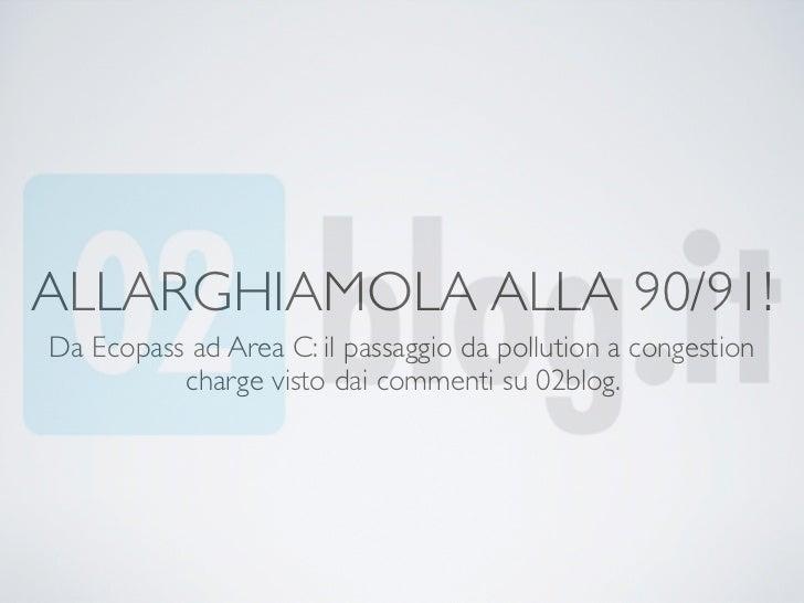 ALLARGHIAMOLA ALLA 90/91!Da Ecopass ad Area C: il passaggio da pollution a congestion          charge visto dai commenti s...