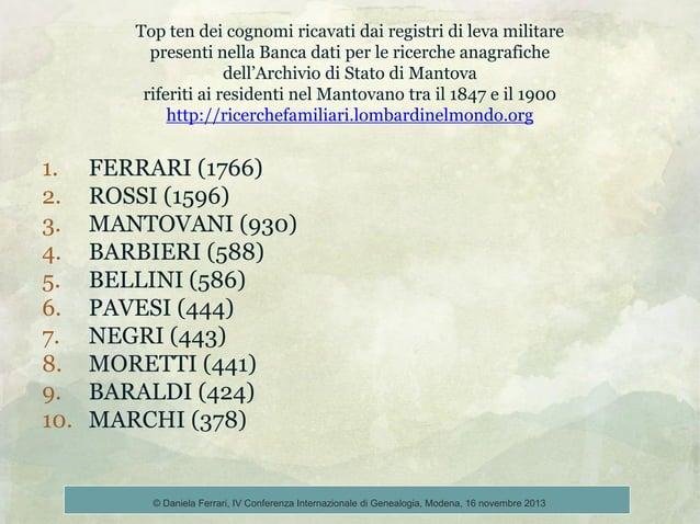 Top ten dei cognomi ricavati dai registri di leva militare presenti nella Banca dati per le ricerche anagrafiche dell'Arch...