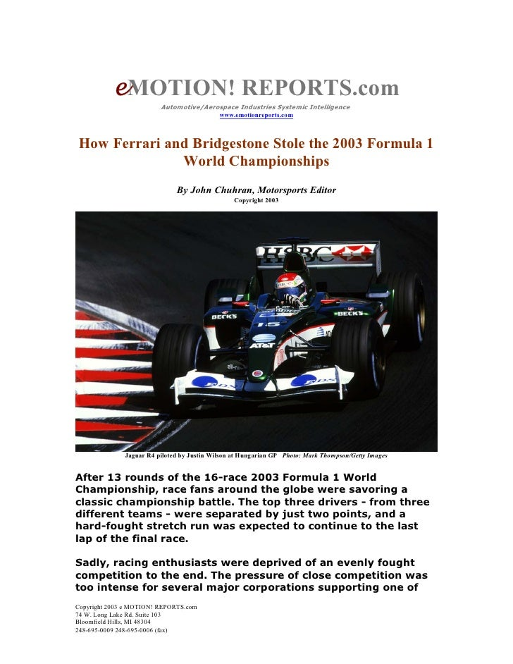 eMOTION! REPORTS.com                          Automotive/Aerospace Industries Systemic Intelligence                       ...
