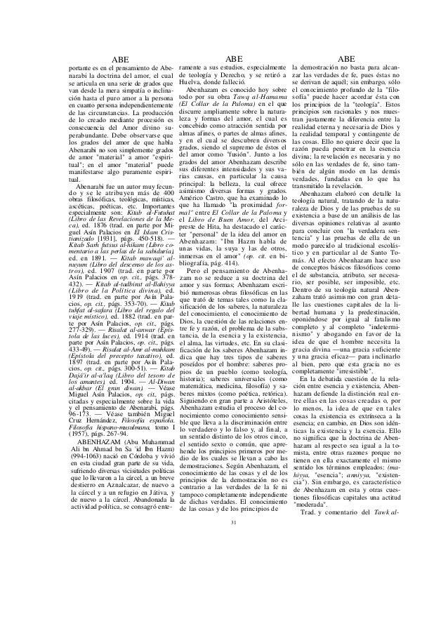 ABE Hamama, por Eduardo García Gómez: El Collar de la Paloma, 1952. — Entre los otros escritos de interés fi-losófico de A...