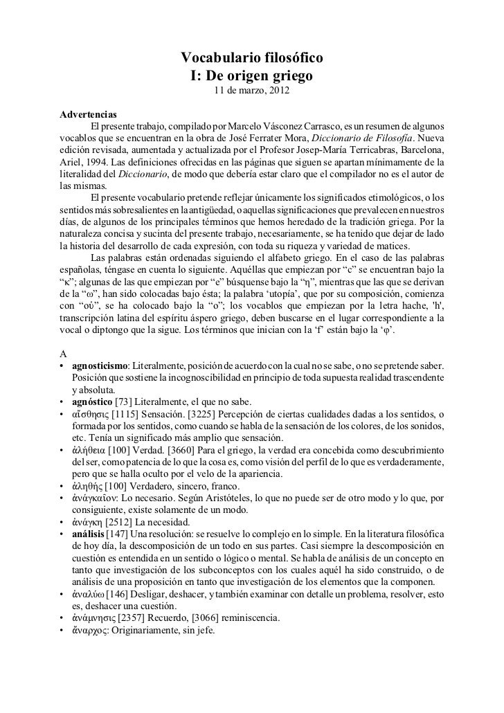 Vocabulario filosófico                                I: De origen griego                                       11 de marz...