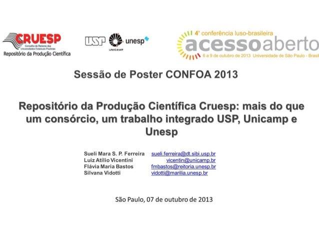 Repositorio Institucional CRUESP: mais do que um consórcio, um trabalho integrado USP, UNESP e UNICAMP