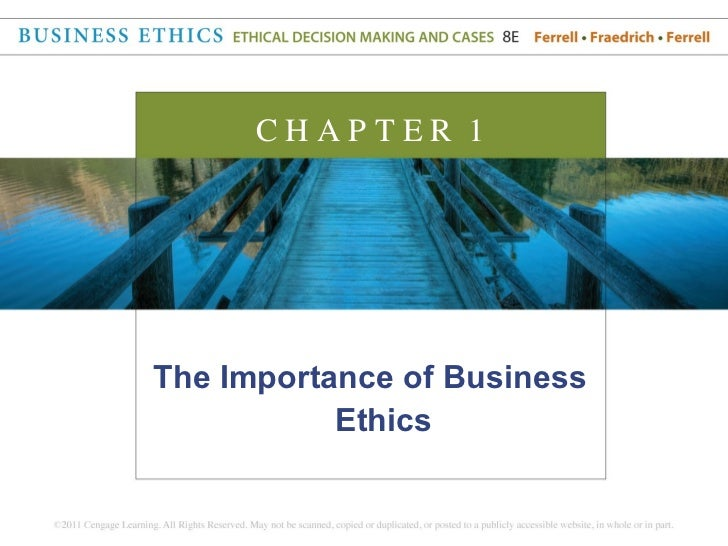 CHAPTER 1The Importance of Business           Ethics
