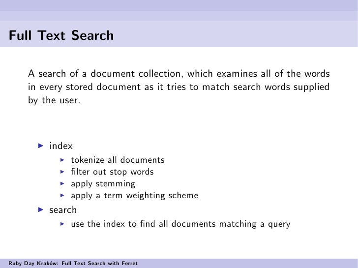Full text search indexing