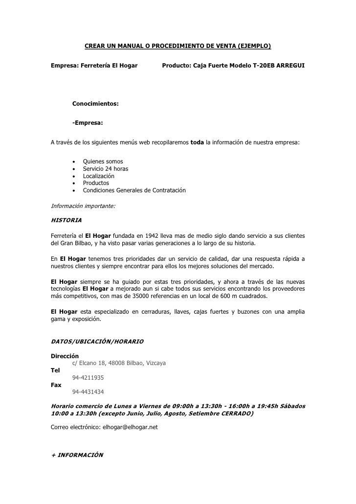 Manual procedimiento venta Manual de procesos y procedimientos de una empresa de alimentos