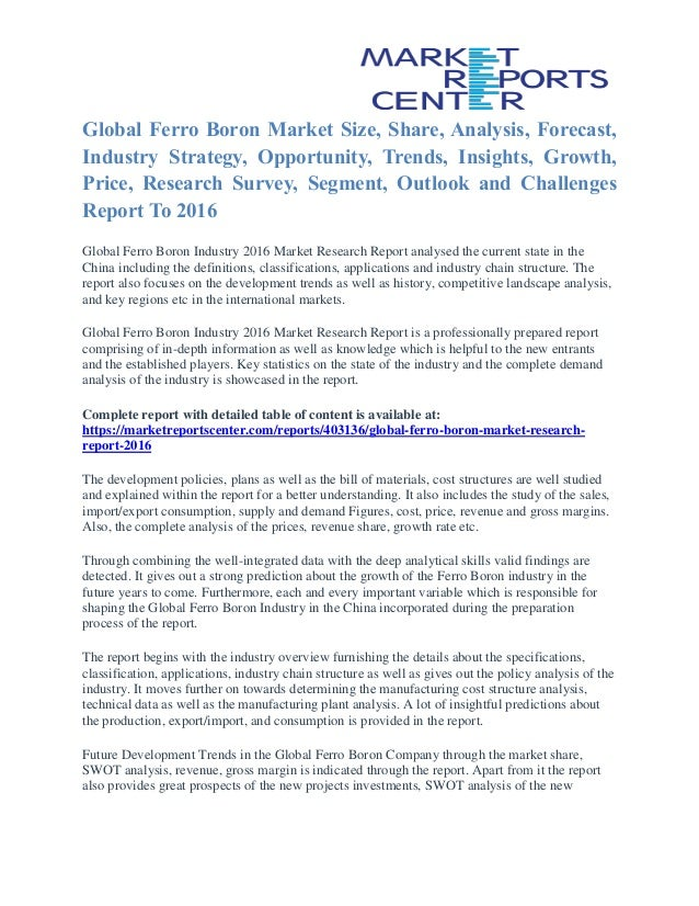 Global Ferro Boron Market Size, Share, Analysis, Forecast, Industry Strategy, Opportunity, Trends, Insights, Growth, Price...