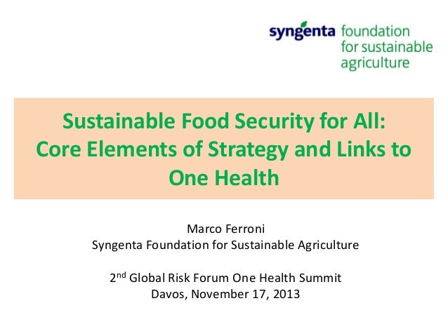Sustainable Food Security for All: Core Elements of Strategy and Links to One Health Marco Ferroni Syngenta Foundation for...