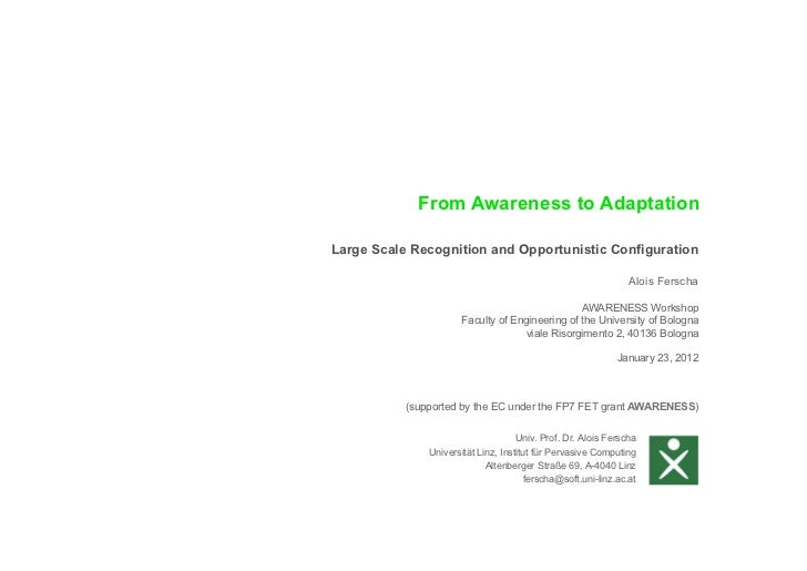 From Awareness to AdaptationLarge Scale Recognition and Opportunistic Configuration                                       ...