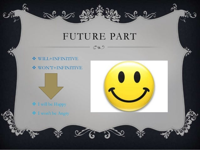 FUTURE PART  WILL+INFINITIVE  WON'T+INFINITIVE  I will be Happy  I won't be Angry