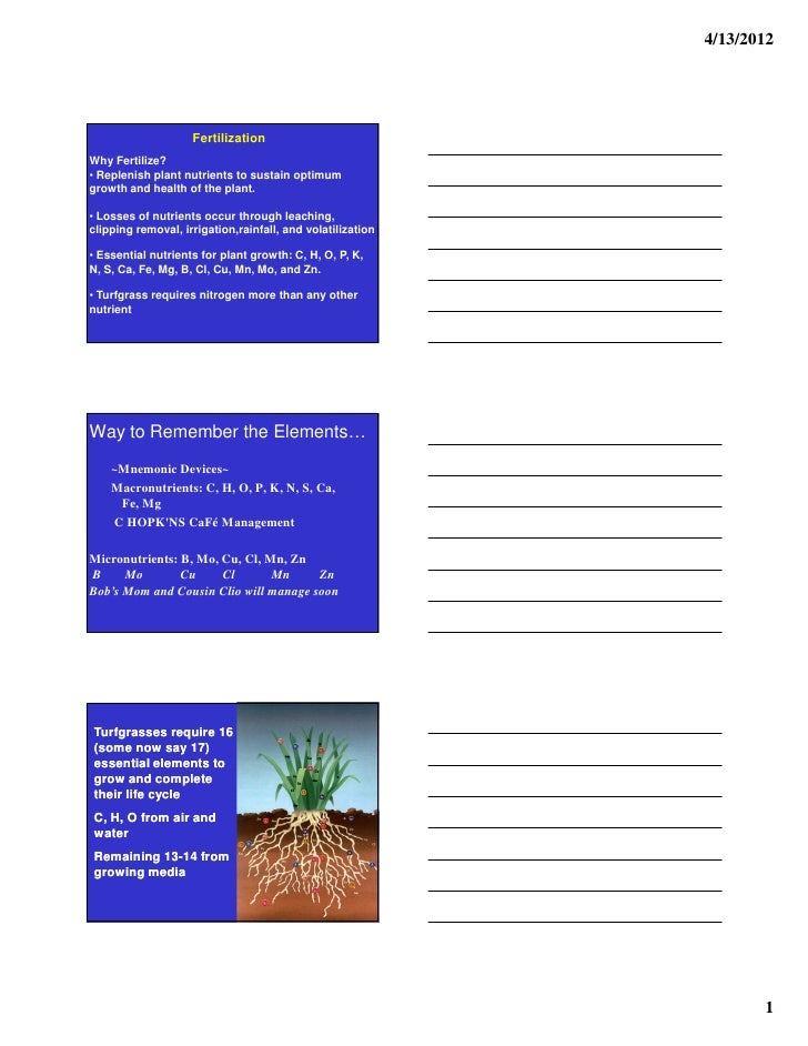 4/13/2012                    FertilizationWhy Fertilize?• Replenish plant nutrients to sustain optimumgrowth and health of...