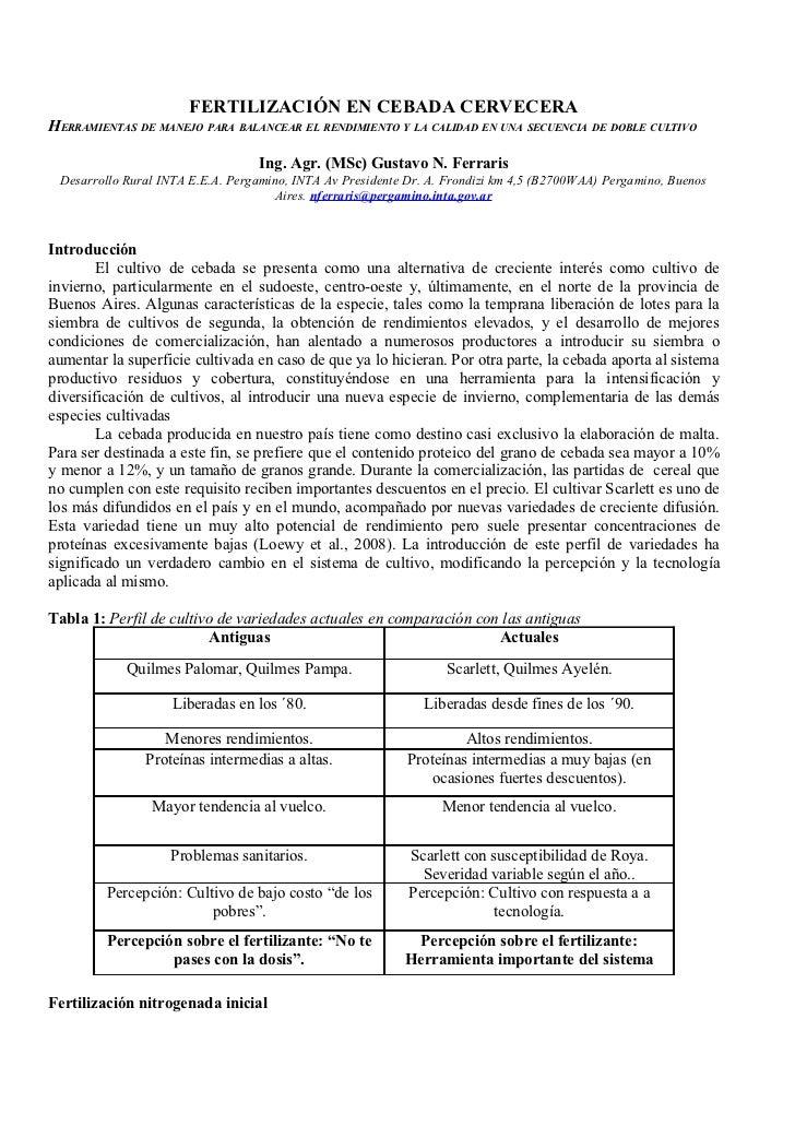FERTILIZACIÓN EN CEBADA CERVECERAHERRAMIENTAS DE MANEJO PARA BALANCEAR EL RENDIMIENTO Y LA CALIDAD EN UNA SECUENCIA DE DOB...