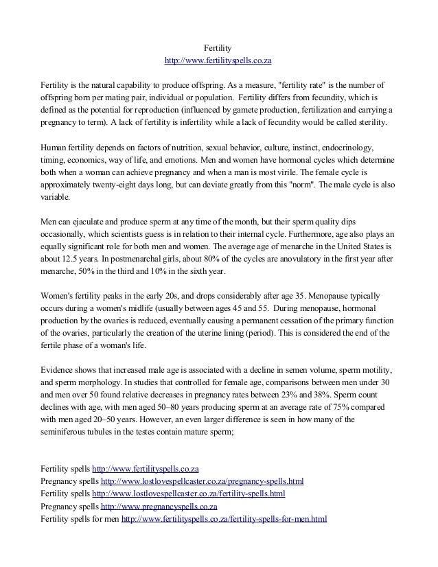 """Fertility  http://www.fertilityspells.co.za  Fertility is the natural capability to produce offspring. As a measure, """"fert..."""