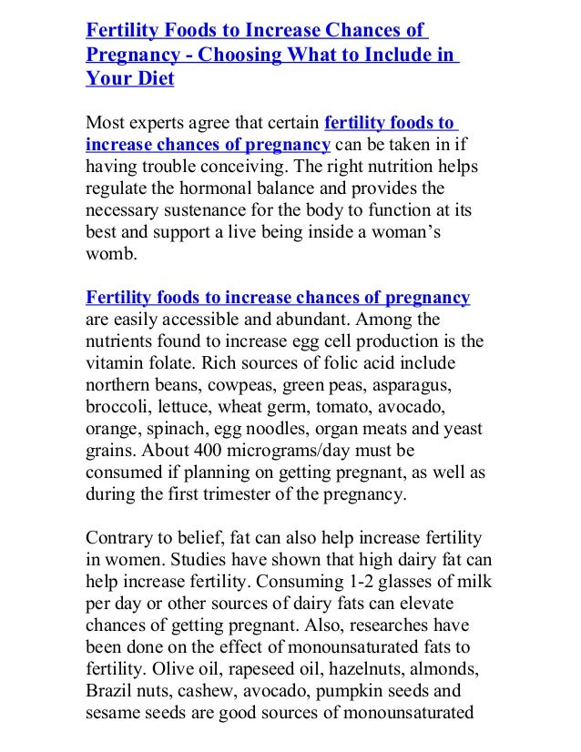 Fertility foods to increase chances of pregnancy choosing what to i…
