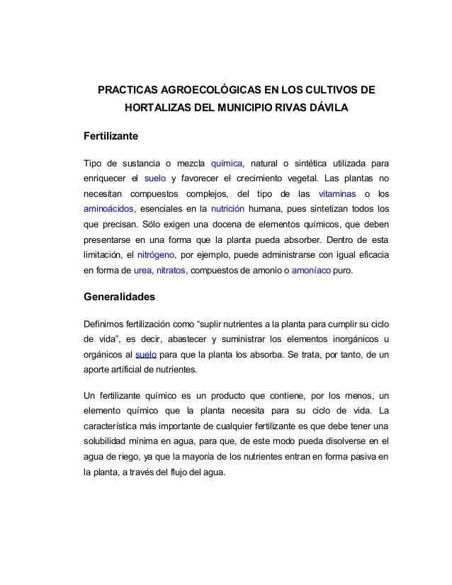 PRACTICAS AGROECOLÓGICAS EN LOS CULTIVOS DE HORTALIZAS DEL MUNICIPIO RIVAS DÁVILA Fertilizante Tipo de sustancia o mezcla ...