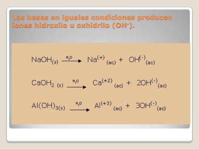 Las bases en iguales condiciones producen iones hidroxilo u oxhidrilo (OH-).