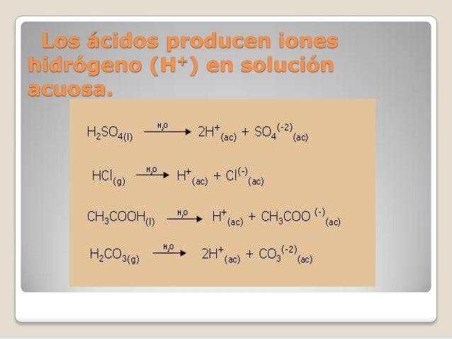 Los ácidos producen iones hidrógeno (H+) en solución acuosa.