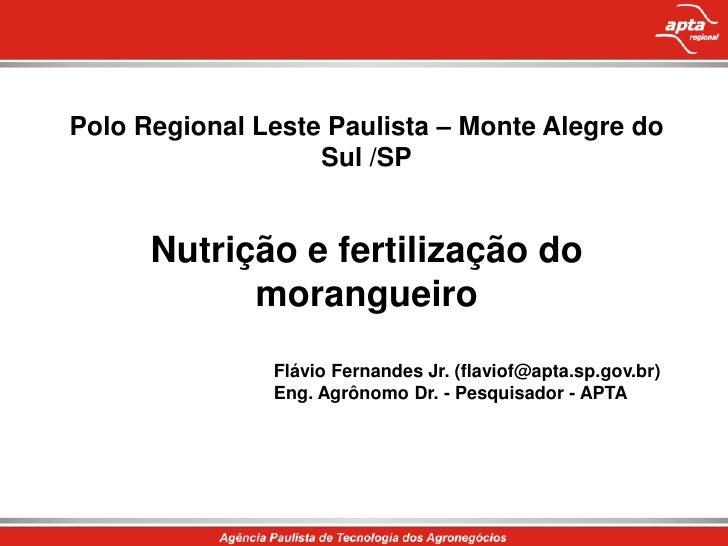 Polo Regional Leste Paulista – Monte Alegre do Sul /SP<br />Nutrição e fertilização do morangueiro<br />Flávio Fernandes J...