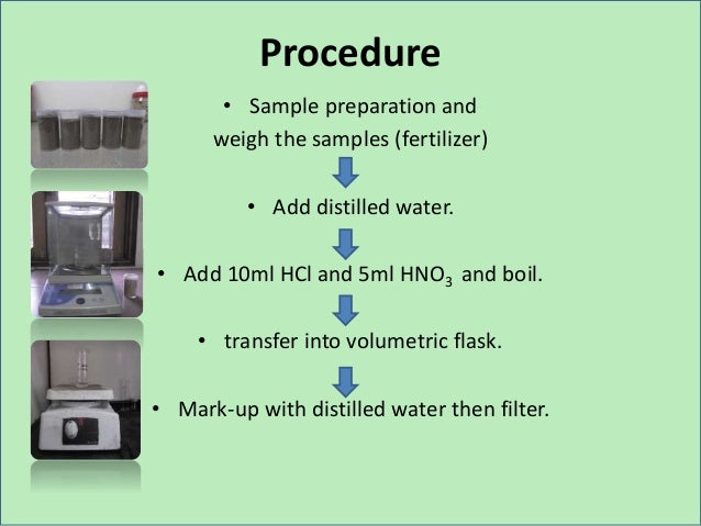 Procedure • Sample preparation and weigh the samples (fertilizer) • Add distilled water. • Add 10ml HCl and 5ml HNO3 and b...