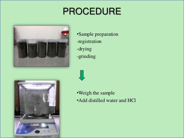 PROCEDURE •Sample preparation -registration -drying -grinding •Weigh the sample •Add distilled water and HCl