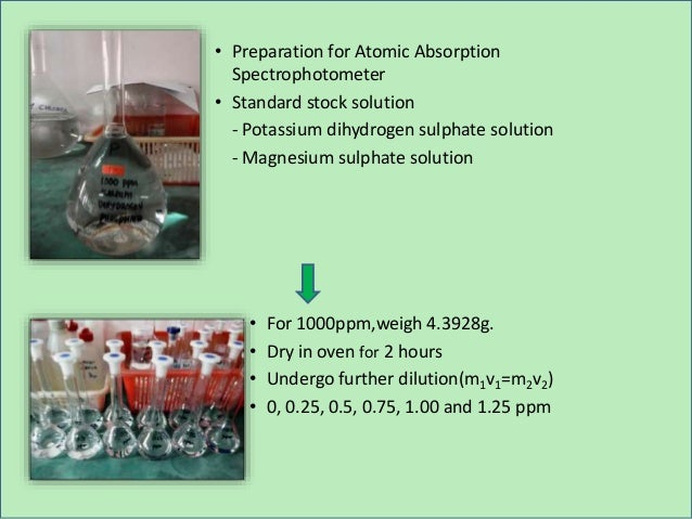 • Preparation for Atomic Absorption Spectrophotometer • Standard stock solution - Potassium dihydrogen sulphate solution -...