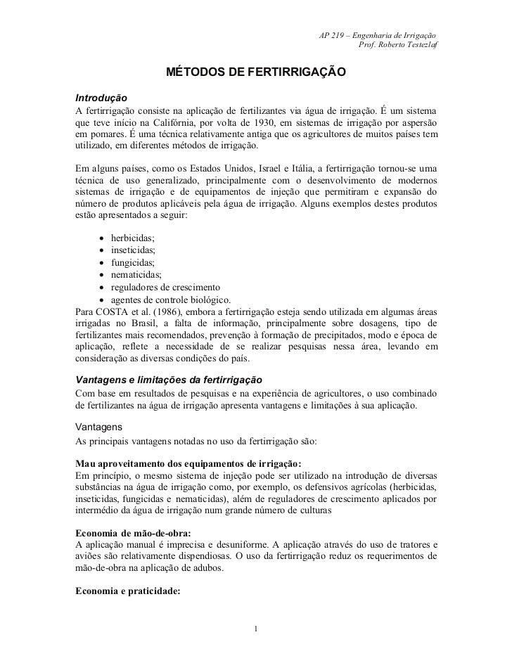 AP 219 – Engenharia de Irrigação                                                                         Prof. Roberto Tes...