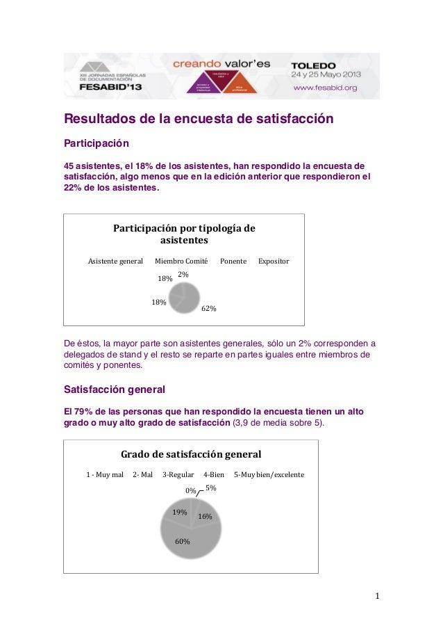 1   Resultados de la encuesta de satisfacción Participación 45 asistentes, el 18% de los asistentes, han respondido la...