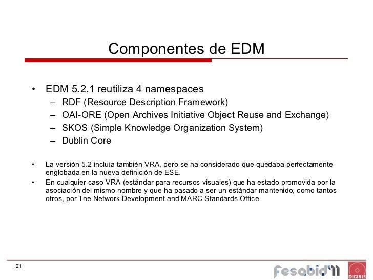 Componentes de EDM <ul><li>EDM 5.2.1 reutiliza 4 namespaces </li></ul><ul><ul><li>RDF (Resource Description Framework) </l...