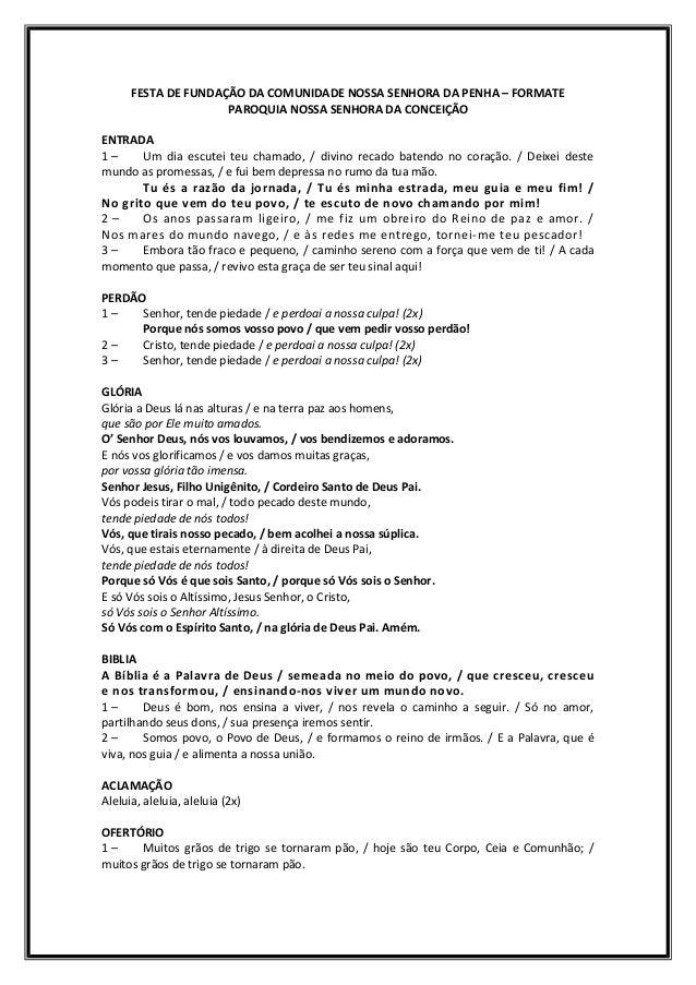 FESTA DE FUNDAÇÃO DA COMUNIDADE NOSSA SENHORA DA PENHA – FORMATE                     PAROQUIA NOSSA SENHORA DA CONCEIÇÃOEN...