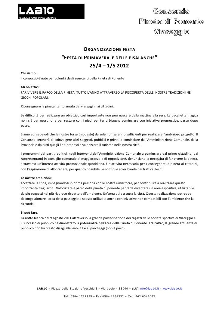 """ORGANIZZAZIONE FESTA                            """"FESTA DI PRIMAVERA E DELLE PISALANCHE""""                                   ..."""