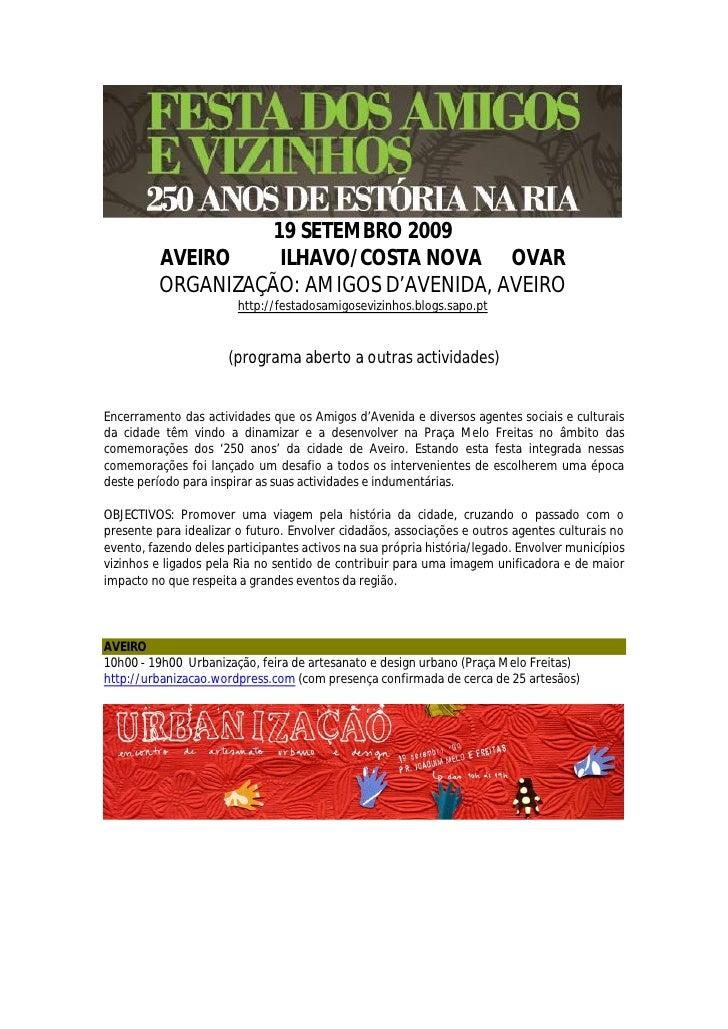 19 SETEMBRO 2009           AVEIRO     ILHAVO/COSTA NOVA OVAR           ORGANIZAÇÃO: AMIGOS D'AVENIDA, AVEIRO              ...