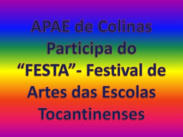 """APAE de Colinas Participa do """"FESTA""""- Festival de Artes das Escolas Tocantinenses<br />"""