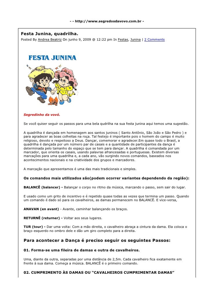 - - http://www.segredosdavovo.com.br -    Festa Junina, quadrilha. Posted By Andrea Beatriz On junho 9, 2009 @ 12:22 pm In...
