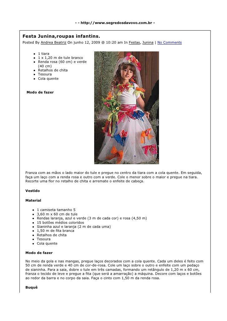 - - http://www.segredosdavovo.com.br -    Festa Junina,roupas infantins. Posted By Andrea Beatriz On junho 12, 2009 @ 10:2...