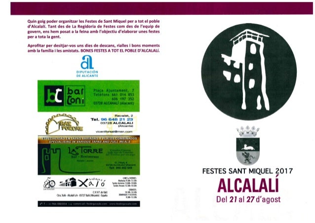 Programa Fiestas de Sant Miquel 2017, Alcalalí - Portada