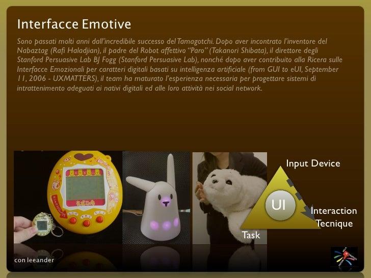 Interfacce Emotive Sono passati molti anni dall'incredibile successo del Tamagotchi. Dopo aver incontrato l'inventore del ...