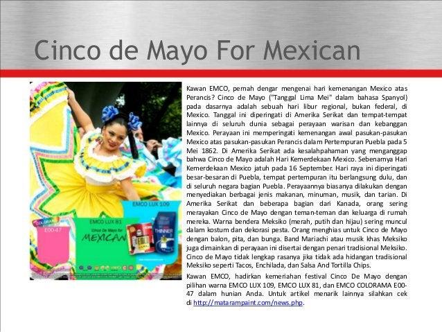 """Cinco de Mayo For Mexican Kawan EMCO, pernah dengar mengenai hari kemenangan Mexico atas Perancis? Cinco de Mayo (""""Tanggal..."""