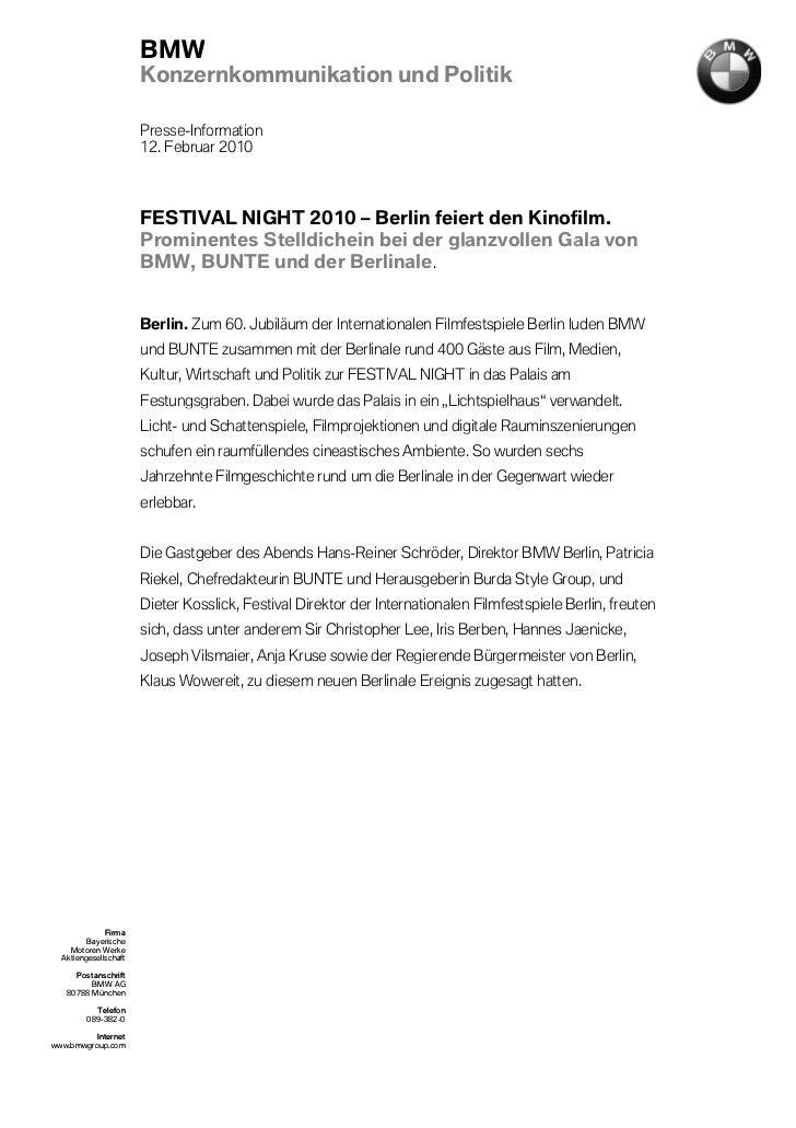 BMW                       Konzernkommunikation und Politik                       Presse-Information                       ...