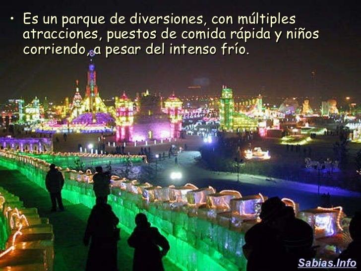 <ul><li>Es un parque de diversiones, con múltiples atracciones, puestos de comida rápida y niños corriendo, a pesar del in...
