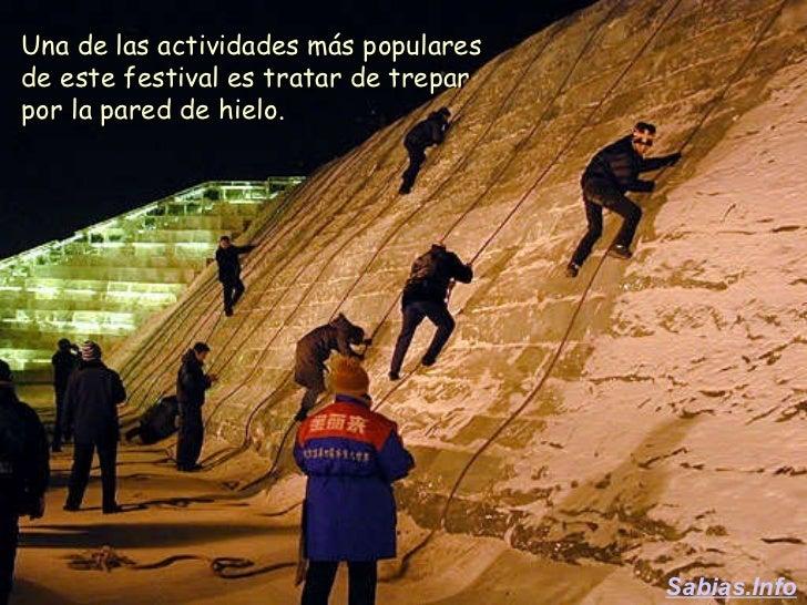 Una de las actividades más populares de este festival es tratar de trepar por la pared de hielo. Sabias.Info