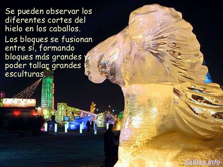 <ul><li>Se pueden observar los diferentes cortes del hielo en los caballos. </li></ul><ul><li>Los bloques se fusionan entr...